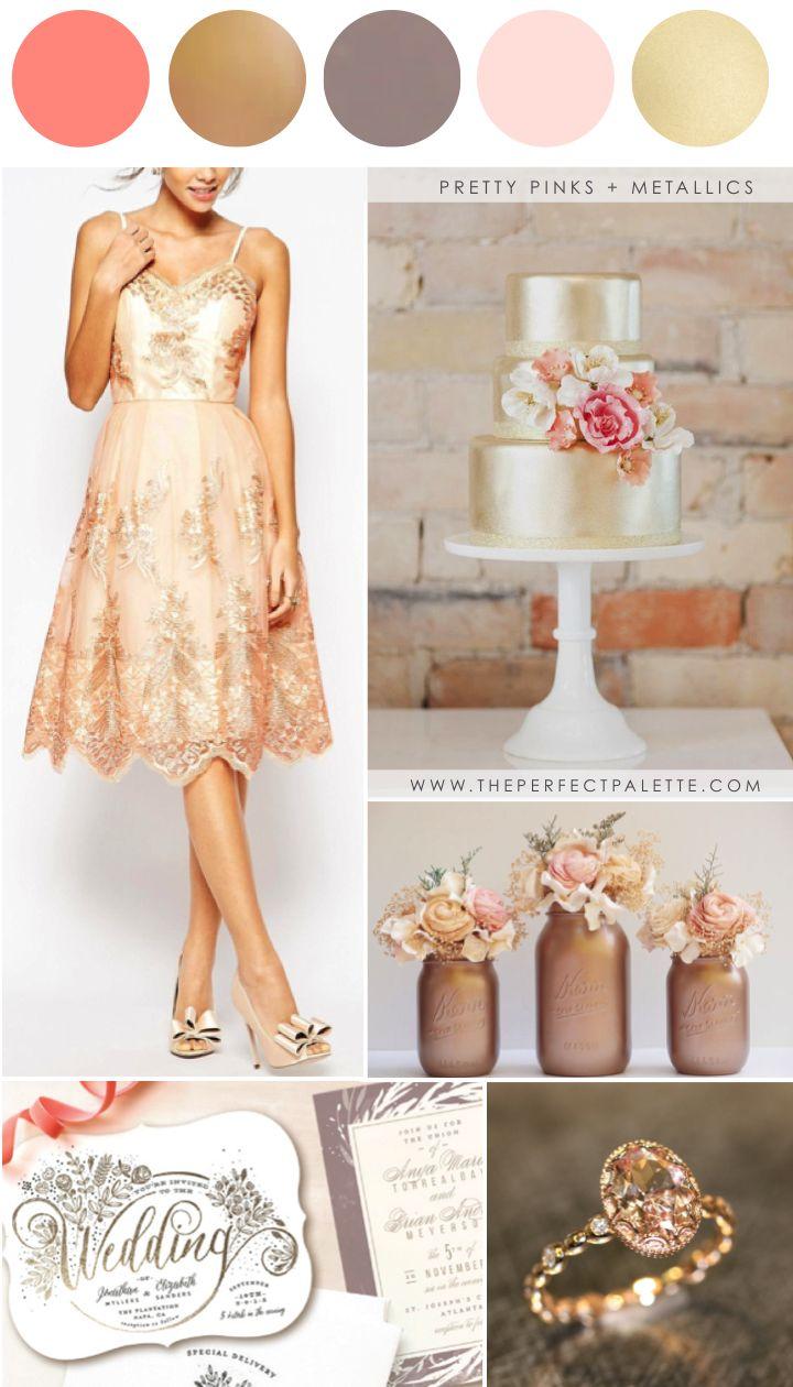 Pretty Pinks + Metallics: Wedding Colors