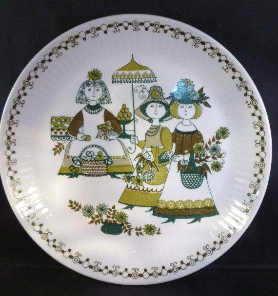 Figgjo Flint Wall Plate Norwegian Vintage Retro Folk Pottery Turi Market Green Home Decor Collectable Scandinavian Gift Very Good Condition
