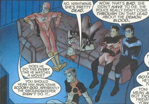 The Titans #3 - Never watch a detective movie with Nightwing.  <-- the scooby-doo comment though.  apparently the groundskeeper /didn't/ do it.