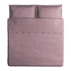 IKEA - VINRANKA, Copripiumino e 2 federe, 240x220/50x80 cm, , La biancheia da letto in satin di cotone è molto morbida e confortevole e ha una lucentezza che risalta sul letto.Grazie al cotone pettinato, questa biancheria da letto è liscia, uniforme e quindi morbida a contatto con la pelle.I bottoni automatici nascosti tengono fermo il piumino.
