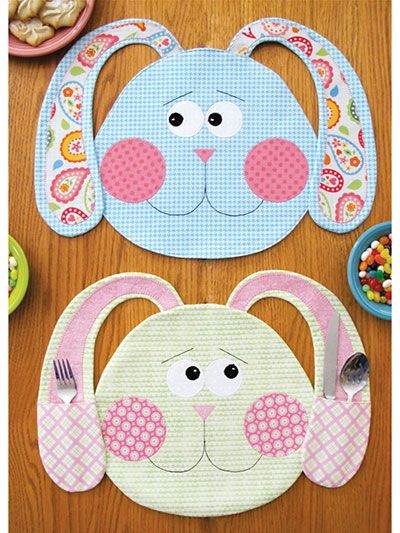 "Adorable place mats to stitch up for Easter! Fun for the whole family, these sweet bunny place mats can feature pockets on the ears for utensils, napkins or other treats. It's a great set to stitch up for spring! Finished size of each place mat is approximately 17"" x 13""."