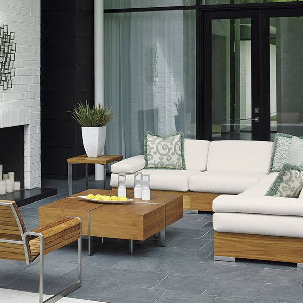 The Tres Chic collection by Tommy Bahama features a similar style of furniture that is applied to all different types of collections, from couches and lounge chairs to stools and a fire pit.
