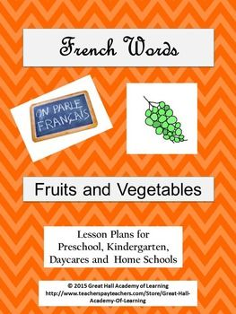 Over 25 pages of new, creative and enriched ideas for pre-school, kindergarten, daycares and home schools.Circle time:  A song in French and English  to introduce the names of the different fruits and vegetables.Games:  Two fun games to play with children to introduce the French words for the fruits and vegetables.Math ideas: Counting, estimating and additionNumber identification and valuesOne page of French number identification (words and numbers  from 1 to 10)Memory gameLiteracy:  Read…