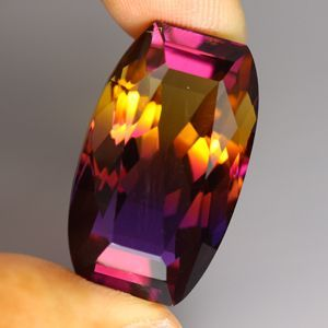 Ametrine: very helpful in getting rid of depression, leads to inner peace and tranquility. Many believe that it contains the powers of amethyst and citrine in one stone, making it a very powerful money stone as well as a higher psychic awareness and spiritual enlightenment. VERY RARE POWER STONE.