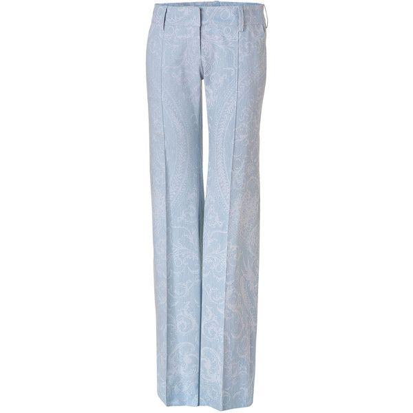 Balmain Vintage Blue Wide Leg Pants (1 174 AUD) ❤ liked on Polyvore featuring pants, bottoms, trousers, calças, jeans, turquoise, vintage pants, hipster pants, wide leg trousers y pleated wide leg pants