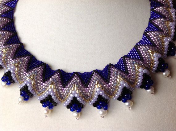 Beadwoven Cellini Formal Collar Necklace by beadandweave on Etsy