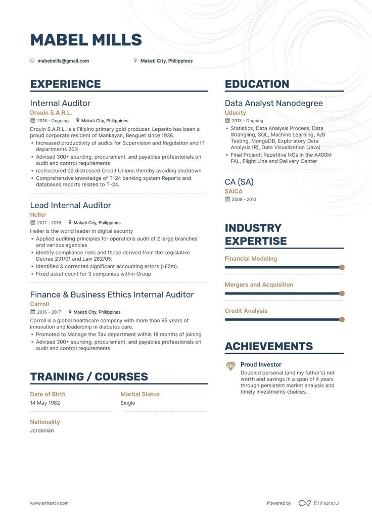The ultimate 2019 guide for Internal Auditor resume