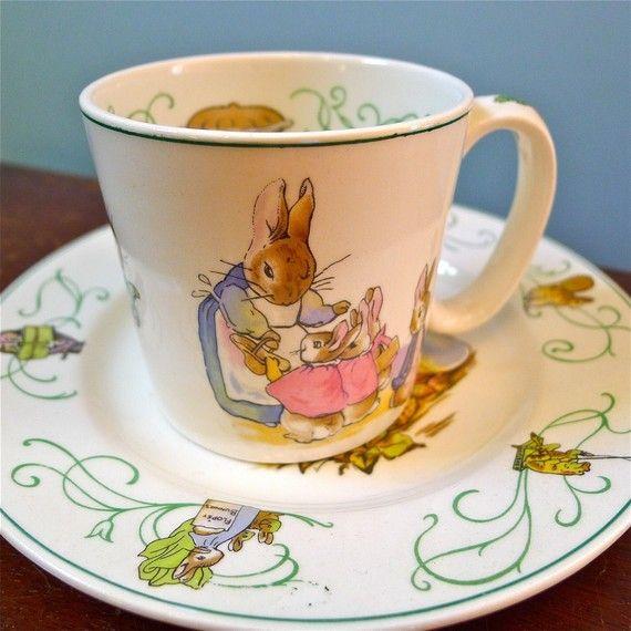 Mother Rabbit tea cup and saucer