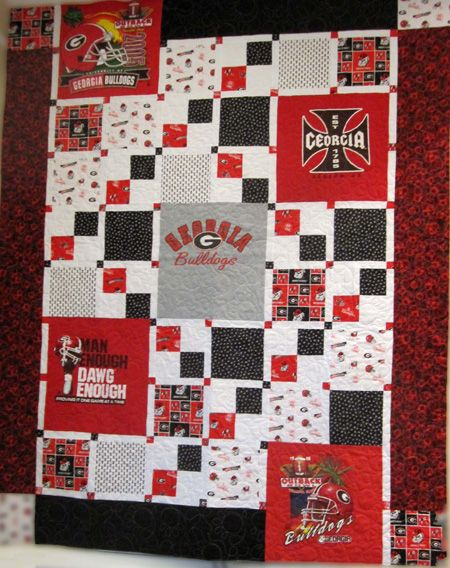 Bonnie's UGA quilt - this is a great pattern using just 5 t-shirts (Thanks, Bonnie!)