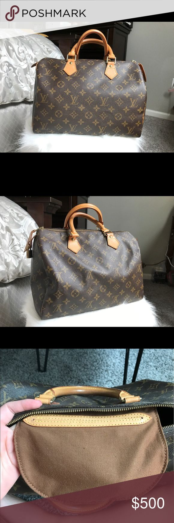 Louis Vuitton Speedy 30 100% AUTHENTIC LADIES. I am selling my Louis Vuitton Speedy 30. All of the piping is still in amazing shape! Also the straps are now a beautiful Carmel color! I do NOT have a key, but the lock is attached to the purse! This handbag was a gift to me from the Houston Galleria in Texas. I will also give you the base inside the handbag to prevent sagging! I do not have a dust bag. Pictures were taken in natural lighting. ✨ NO TRADES! I need the money to go back to…