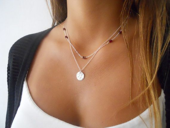 Sterling Silver Gemstone and Coin Necklace Set ; Layered Silver Necklace Set ; Coin Necklace ; Set of Two Necklaces ; Pick Your Beads