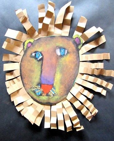 lion collage with pastel face