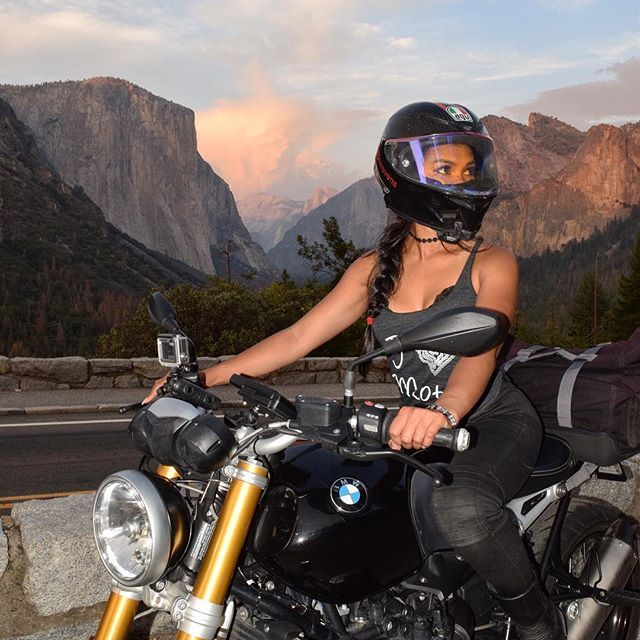 Adventure is out there. This was when I rode through beautiful Yosemite  Where's your next adventure? I'm doing a solo trip to Vegas in a couple days to work with @bnlabs at this year's Idea World fitness convention  If there are any other cool events going on out in Vegas this weekend, let me know! Rental Motorcycle: @eagleridersanfrancisco Double Kevlar Leggings: @streetstyleridinggear Tank top: @riderich : @raul_2015r1