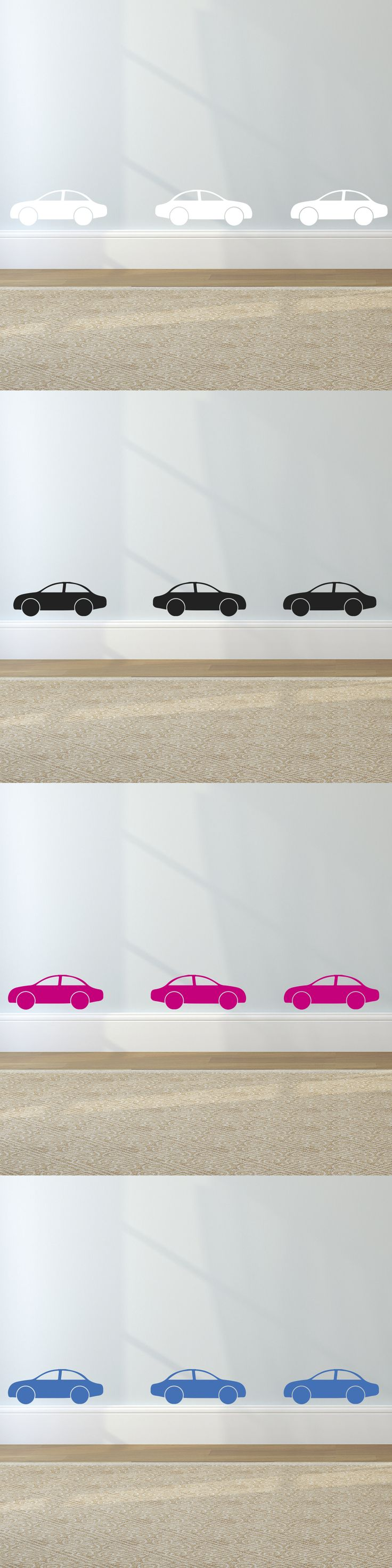 Set of Sports Cars Pattern Childs Room Decor Vinyl Wall Sticker  These car wall stickers can be used to transform your child's bedroom with ease.  Set of 6  Colours: White, Black, Blue, Pink  Dimensions: Cars measure 24.5 x 9.0 cm. At Jules Design Studios we use high quality vinyl that has a matt opaque finish, giving your wall art a finish that looks beautifully hand painted.