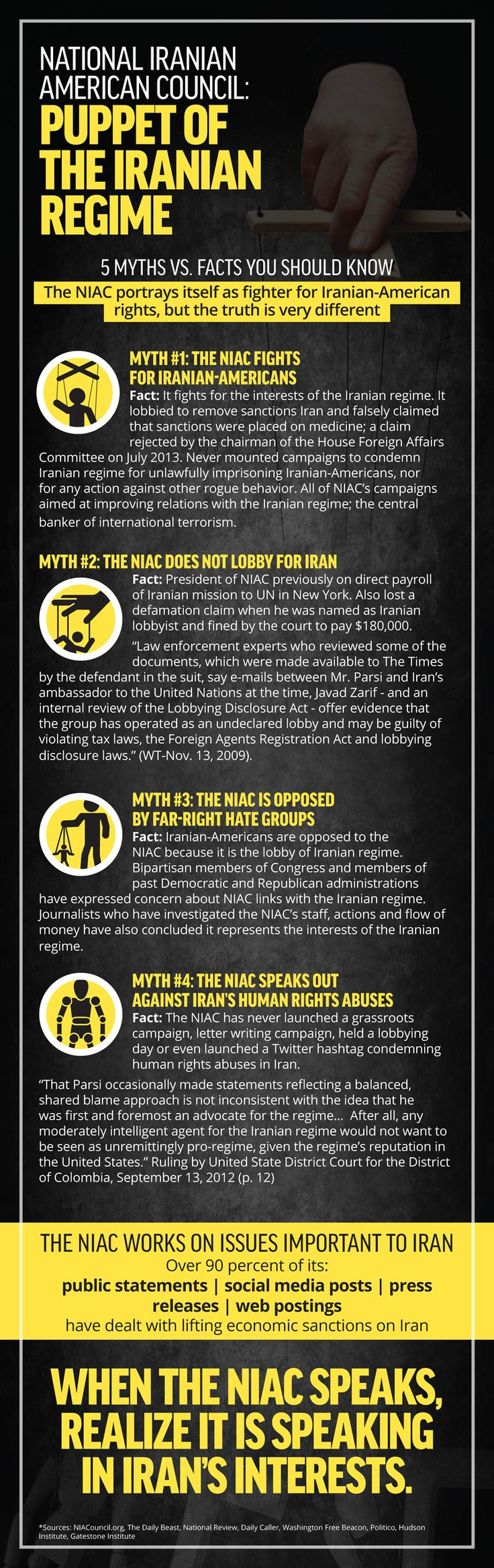 Great #infographic detailing the real Myths vs. Facts surrounding the National Iranian American Council (NIAC). Don't believe for a minute they're working for Iranian-Americans.