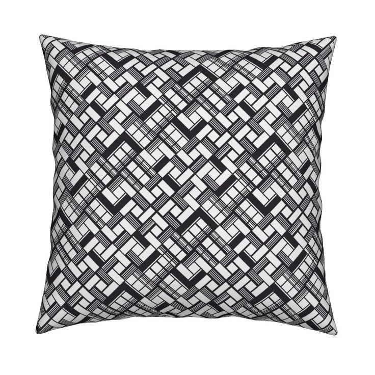 Catalan Throw Pillow featuring Abstract black and white geometric pattern of intersected squares by milagrosvita | Roostery Home Decor