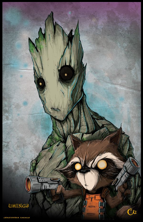 Cool Rocket Raccoon and Groot Character Art from GUARDIANS OF THE GALAXY