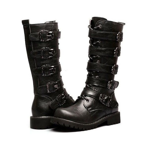 Men's Faux Leather Black Knee High Gothic Fur Motorcycle Boots Buckles ($115) ❤ liked on Polyvore featuring men's fashion, men's shoes, men's boots, mens black shoes, mens biker boots, mens black buckle shoes, mens fur lined shoes and mens vegan boots