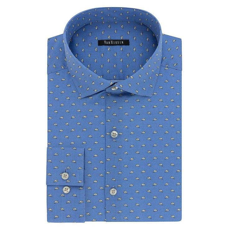 Men's Van Heusen Fresh Defense Extra-Slim Fit Dress Shirt, Size: 14.5-32/33, Blue Other