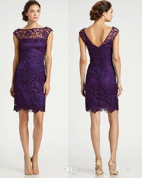 New Cheap Purple Lace Mother Of The Bride Dresses V Neck Cap Sleeve Short Sheath Above Knee Length Ladies Formal Dress Custom Casual Mother Of The Bride Dresses Tea Length Classic Mother Of The Bride Dresses From Perfectwardrobe, $102.52| Dhgate.Com