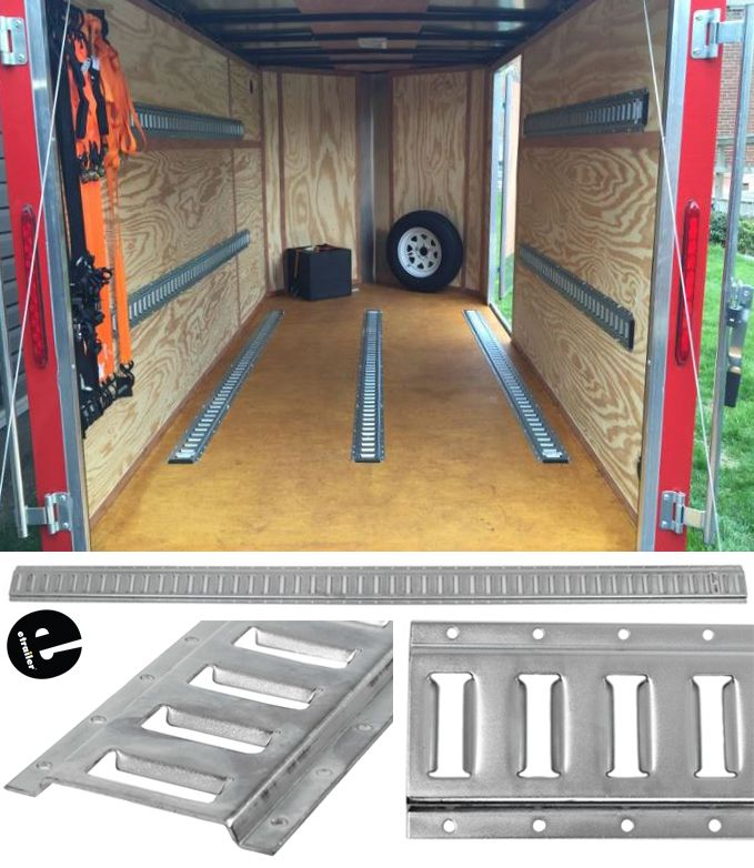 E Track Provides Tie Down Points For Securing Cargo In Your Trailer Truck Or Van With Use Of E Track Str Motorcycle Trailer Trailer Organization Work Trailer