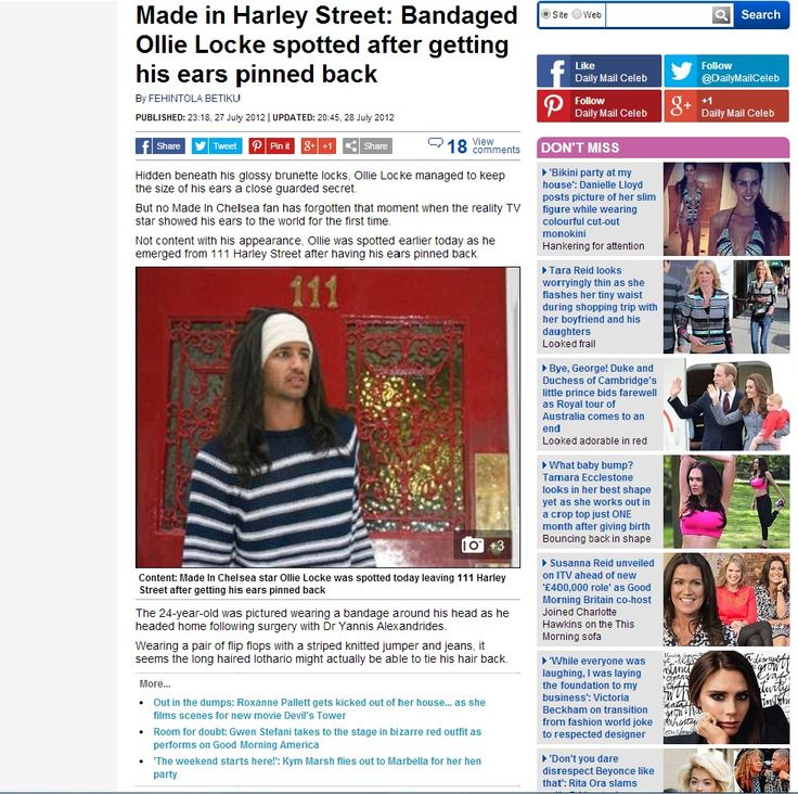 Ollie Locke from Made In Chelsea was spotted and featured in the Daily Mail after having an Ear Pinning surgery with Dr Yannis Alexandrides at 111 Harley Street