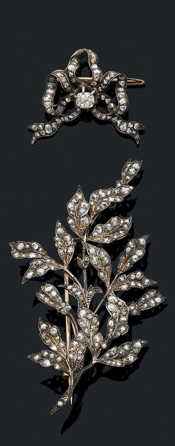 Two antique gold, silver and diamond brooches, 19th century.