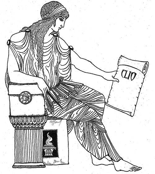 """•Clio  - the """"Proclaimer"""" is the muse of History and Oral Tradition and is often seen sitting with a scroll and accompanied by a chest of books. She has been credited with introducing the Phoenician alphabet into Greece. Art by Katlyn"""