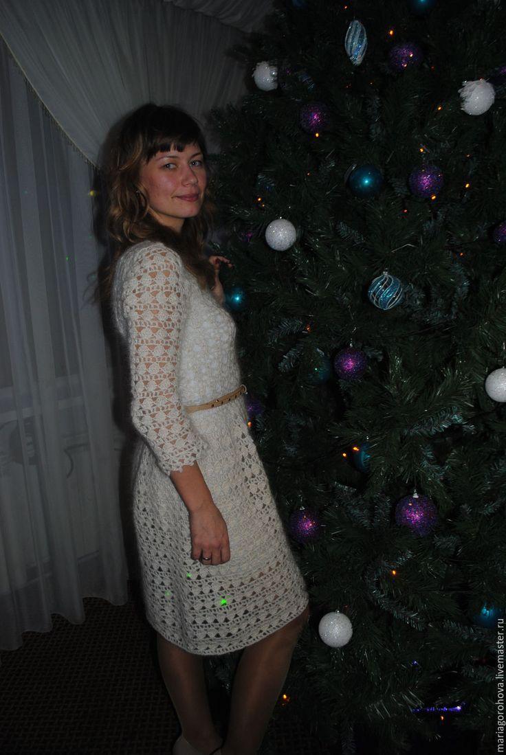 Купить Ваниль - белый, абстрактный, теплое платье, вязанное платье, платье из мохера