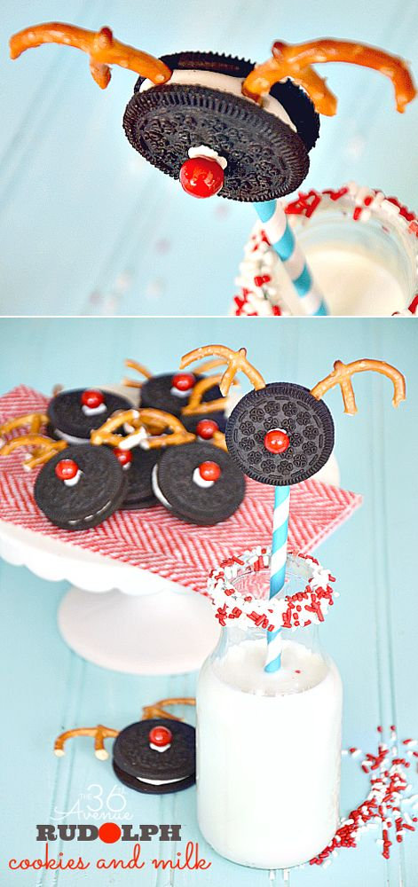 Rudolph Oreo Christmas Cookies Snack is so pretty and festive, you can make in just five minutes...