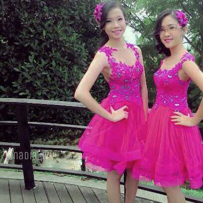 Fuschia Pink Constructed Tutu Dresses with Illusion Bodice and Lace Appliqués by @nadia_ivy