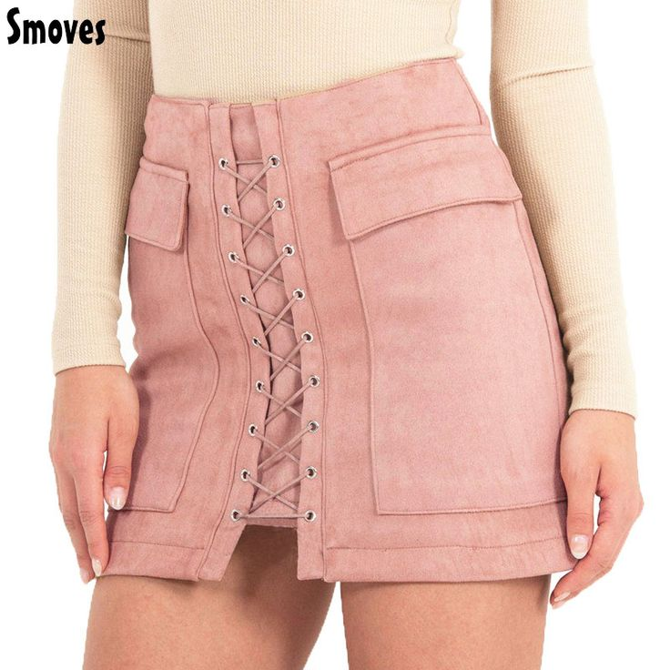 $14.95 Click Visit to buy from AliExpress -- Smoves Women's Vintage High Waist External Pocket Tight Suede Lace Up Skirt Autumn Winter Thick Pencil Skirt Preppy Mini Skirt