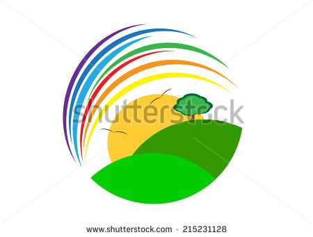 logo. The nature in a sphere, a rainbow, a tree and the sun with birds