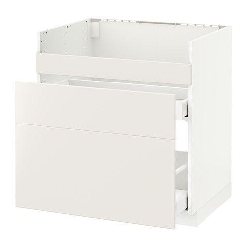 METOD / MAXIMERA Uschr f DOMSJÖ Spülb/3 Fr/2 Sch - weiß, Veddinge weiß - IKEA