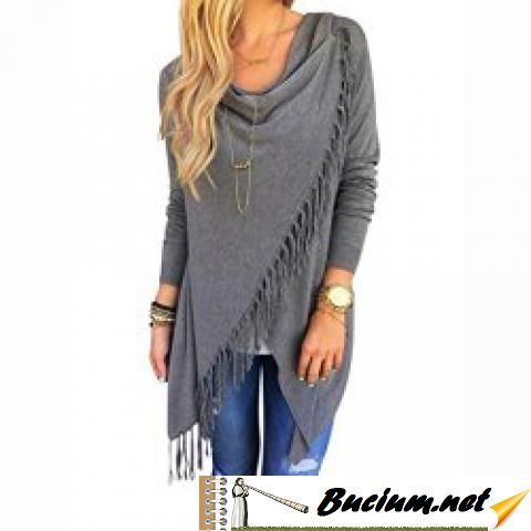 Sunward Fashion Womens Tassel Slash Tops Long Sleeve T-shirt Blouse Sweatshirt (XL, Grey)