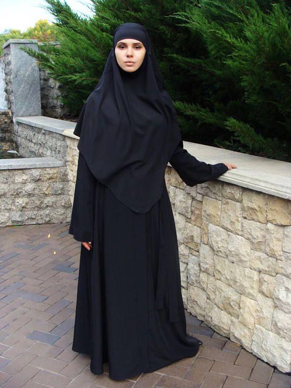 Black hijab, tie khimar, traditional hijab, 1 piece hijab, ready to wear hijab, black muslim clothing, stylish jilbab, muslim gift