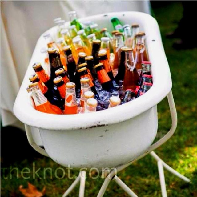 Rustic/vintage wedding drink cooler