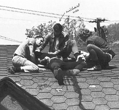 """People's Park, Berkeley, 1969. The killing of bystander James Rector by Alameda County Sheriffs. Photo: Kathryn Bigelow, """"about two minutes after he was shot."""" He was killed with """"00"""" pellets, which the sheriffs denied using until doctors at Berkeley hospitals saved it after removing it from the wounded."""
