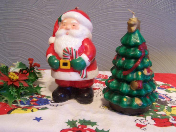 Vintage Christmas Candle Figurines Santa Christmas Tree