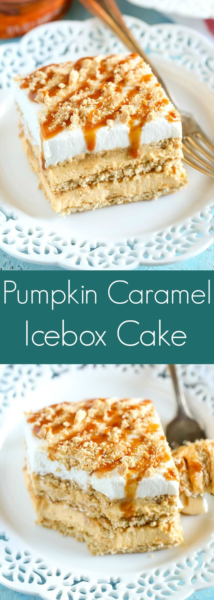 Layers of graham crackers, no-bake pumpkin spice cheesecake filling, and caramel topped off with homemade whipped cream. This No-Bake Pumpkin Caramel Icebox Cake is an easy and delicious fall dessert! @indelight #PumpkinDelight #IDelight #ad