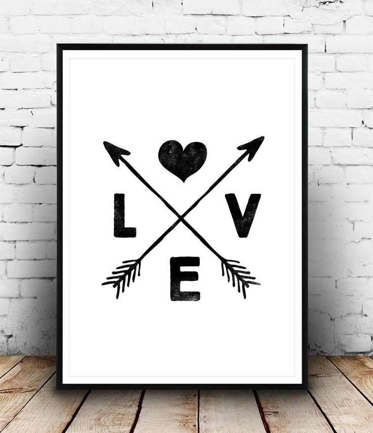 Boho chic decor, love art print, arrows print, black and white wall art