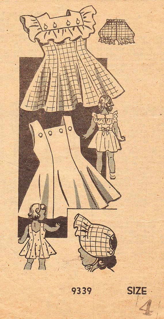 Vintage 1940's Sundress or Sunback Dress with Ruffled Collarette for Girls and Toddlers - Marian Martin Sewing Pattern No. 9339 - Size 4