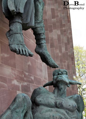Sculpture by Jacob Epstein. St Michael's Victory over the Devil, Coventry Cathedral.