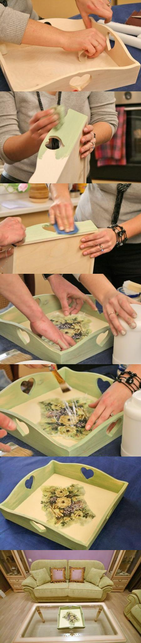 Декупаж - Сайт любителей декупажа - DCPG.RU | Декорируем поднос декупажной картой decoupage art handmade home decor craft tutorial DIY do it yourself: