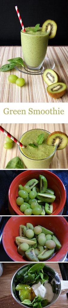 A healthy Green smoothie to keep yourself fit, combining the goodness of kiwi, grapes and spinach.  To make it Vegan you can use non-Dairy milk instead of yogurt and skip the honey or add sugar.