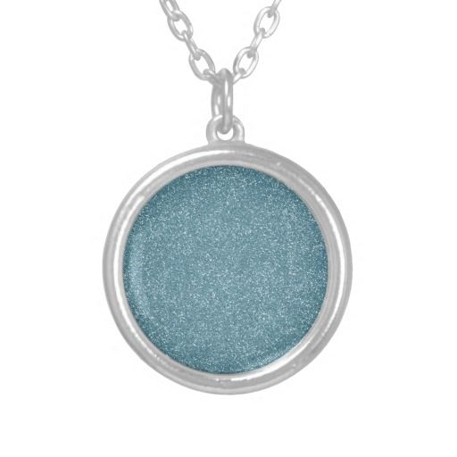 PANTONE Aquamarine baby blue with faux Glitter Necklace