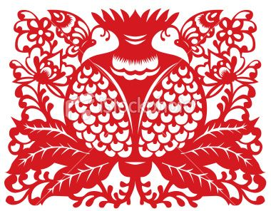 Chinese paper-cutting butterfly and pomegranate
