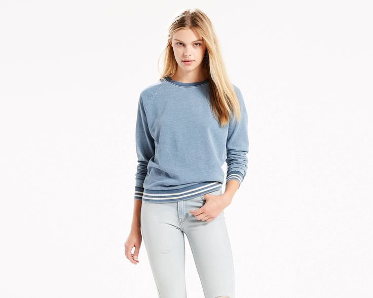 We took the cozy oversized sweater you love snagging from him, and altered it just for you. This one is made from French Terry with enduring comfort, in classic indigo — our favorite shade of blue. It is pile knit for a raised texture.