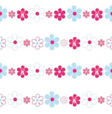 Minnie Bows & Daisies (72099) - Kids @ Home Wallpapers - A pretty floral design running horizontally featuring Minnie Mouse - showing in pink and blue on a white background. Please ask for sample for true colour match.