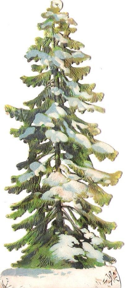 Oblaten Glanzbild scrap die cut chromo Winter Baum Tanne Schnee snow tree hiver: